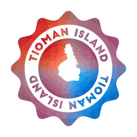 Tioman Island low poly  of the island in geometric style. Multicolored polygonal Tioman Island rounded sign with map for your infographics.