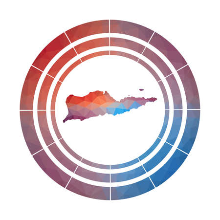Saint Croix badge. Bright gradient  of island in low poly style. Multicolored Saint Croix rounded sign with map in geometric style for your infographics. 일러스트