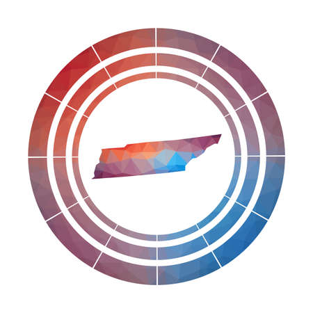 Tennessee badge. Bright gradient of us state in low poly style. Multicolored Tennessee rounded sign with map in geometric style for your infographics. 일러스트