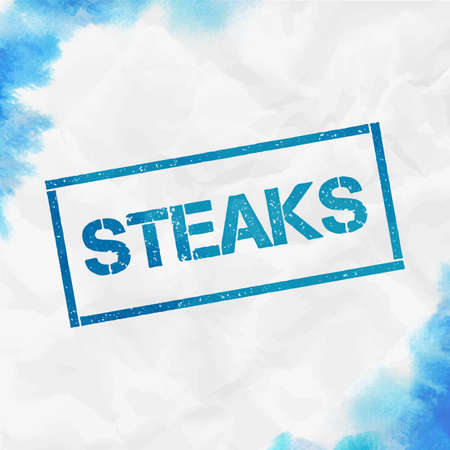 Steaks rectangular stamp. Textured turquoise seal with text, watercolor style. Vector illustration.