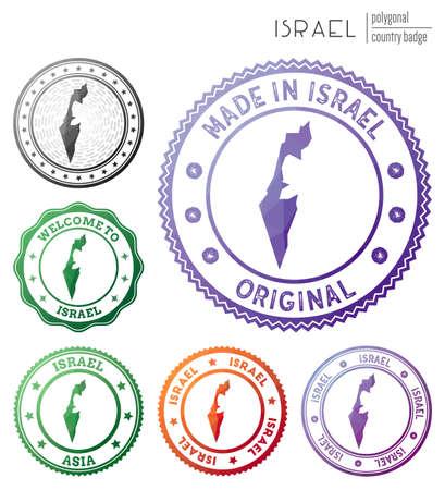 Israel badge. Colorful polygonal country symbol. Multicolored geometric Israel   set. Vector illustration. 일러스트