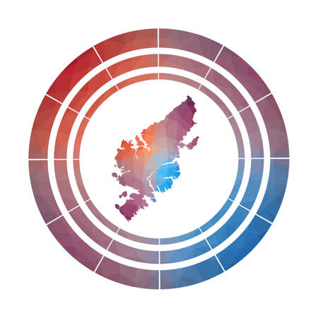Lewis and Harris badge. Bright gradient of island in low poly style. Multicolored Lewis and Harris rounded sign with map in geometric style for your infographics.