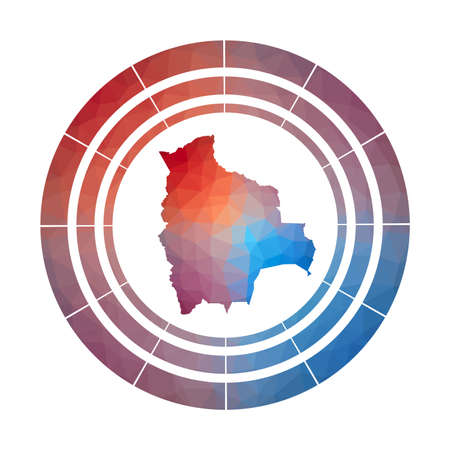 Bolivia badge. Bright gradient   of country in low poly style. Multicolored Bolivia rounded sign with map in geometric style for your infographics. 일러스트