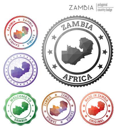 Zambia badge. Colorful polygonal country symbol. Multicolored geometric Zambia   set. Vector illustration.