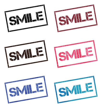 Smile rectangular stamp collection. Textured seals with text isolated on white backgound. Stamps in turquoise, red, blue, black and sepia colors. Colourful watercolor style vector illustration. Ilustrace