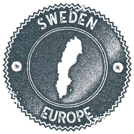 Sweden map vintage stamp. Retro style handmade label, badge or element for travel souvenirs. Dark blue rubber stamp with country map silhouette. Vector illustration.
