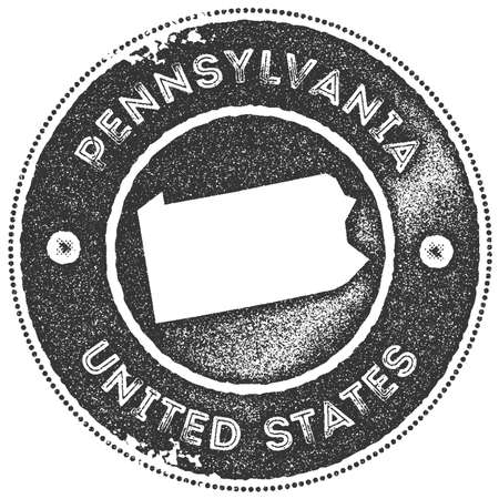 Pennsylvania map vintage stamp. Retro style handmade label, badge or element for travel souvenirs. Dark grey rubber stamp with us state map silhouette. Vector illustration.
