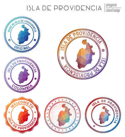 Isla de Providencia badge. Colorful polygonal island symbol. Multicolored geometric Isla de Providencia set. Vector illustration.