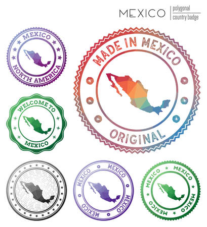 Mexico badge. Colorful polygonal country symbol. Multicolored geometric Mexico  set. Vector illustration.