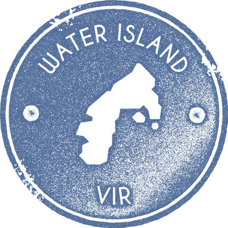 Water Island map vintage stamp. Retro style handmade label, badge or element for travel souvenirs. Light blue rubber stamp with island map silhouette. Vector illustration.