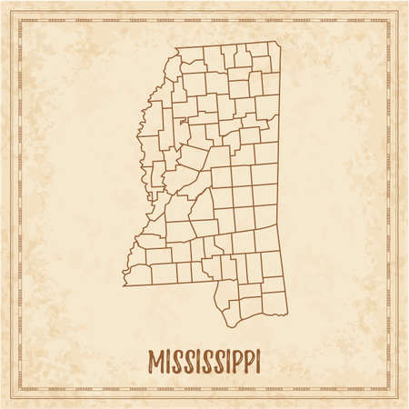 Pirate Map Of Mississippi. Blank Vector Map Of The Us State ...