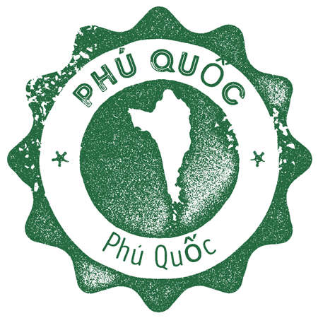 Phu Quoc map vintage stamp. Retro style handmade label, badge or element for travel souvenirs. Dark green rubber stamp with island map silhouette. Vector illustration.