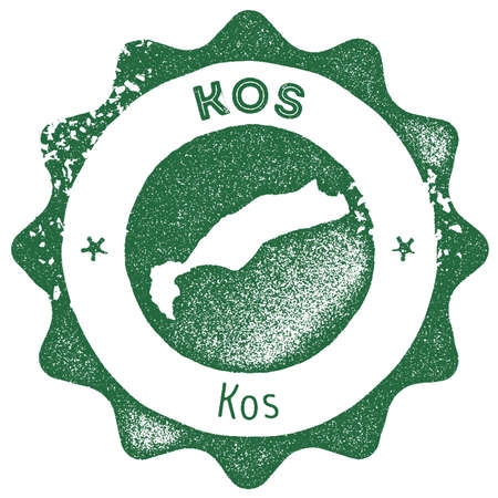 Kos map vintage stamp. Retro style handmade label, badge or element for travel souvenirs. Dark green rubber stamp with island map silhouette. Vector illustration.