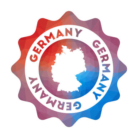 Germany low poly of the country in geometric style. Multicolored polygonal Germany rounded sign with map for your infographics.