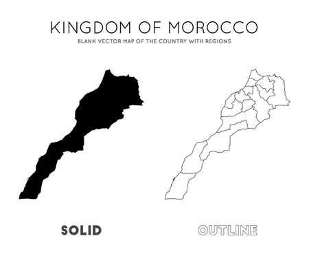 Morocco map. Blank vector map of the Country with regions. Borders of Morocco for your infographic. Vector illustration.