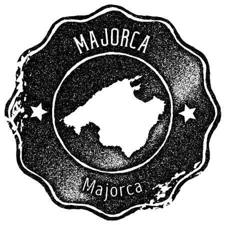 Majorca map vintage stamp. Retro style handmade label, badge or element for travel souvenirs. Black rubber stamp with island map silhouette. Vector illustration.