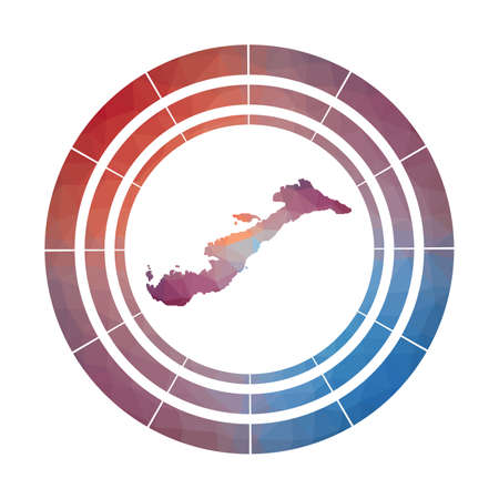 Amorgos badge. Bright gradient of island in low poly style. Multicolored Amorgos rounded sign with map in geometric style for your infographics.
