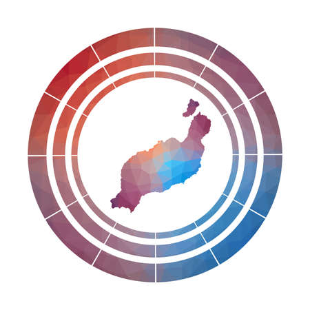 Lanzarote badge. Bright gradient of island in low poly style. Multicolored Lanzarote rounded sign with map in geometric style for your infographics.