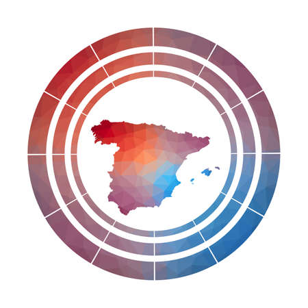 Spain badge. Bright gradient of country in low poly style. Multicolored Spain rounded sign with map in geometric style for your infographics.