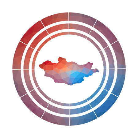 Mongolia badge. Bright gradient  of country in low poly style. Multicolored Mongolia rounded sign with map in geometric style for your infographics. 일러스트