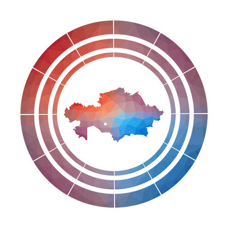 Kazakhstan badge. Bright gradient of country in low poly style. Multicolored Kazakhstan rounded sign with map in geometric style for your infographics. 일러스트