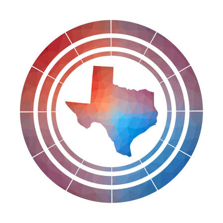 Texas badge. Bright gradient of us state in low poly style. Multicolored Texas rounded sign with map in geometric style for your infographics.