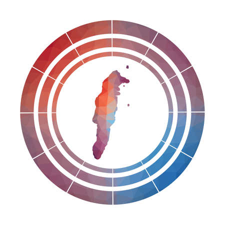 San Andres badge. Bright gradient of island in low poly style. Multicolored San Andres rounded sign with map in geometric style for your infographics.