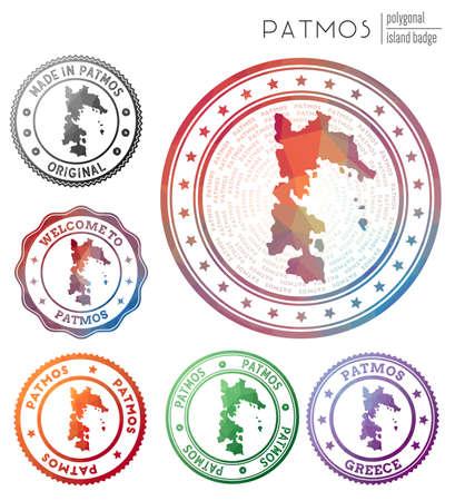 Patmos badge. Colorful polygonal island symbol. Multicolored geometric Patmos  set. Vector illustration.