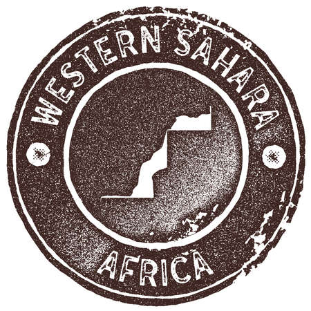 Western Sahara map vintage stamp. Retro style handmade label, badge or element for travel souvenirs. Brown rubber stamp with country map silhouette. Vector illustration.