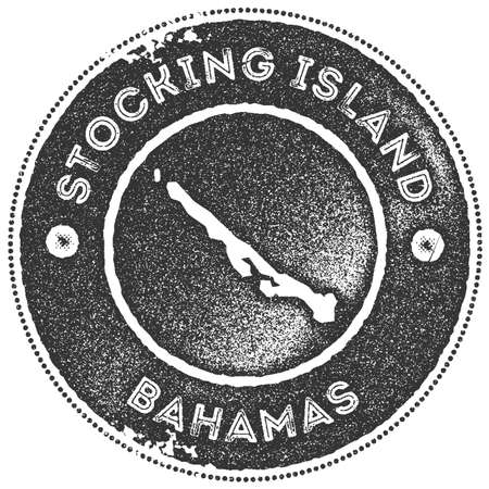 Stocking Island map vintage stamp. Retro style handmade label, badge or element for travel souvenirs. Dark grey rubber stamp with island map silhouette. Vector illustration. 일러스트