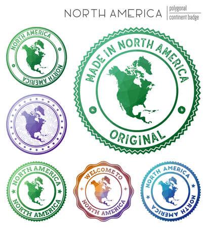North America badge. Colorful polygonal continent symbol. Multicolored geometric North America  set. Vector illustration.