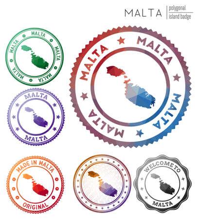 Malta badge. Colorful polygonal island symbol. Multicolored geometric Malta  set. Vector illustration. 일러스트