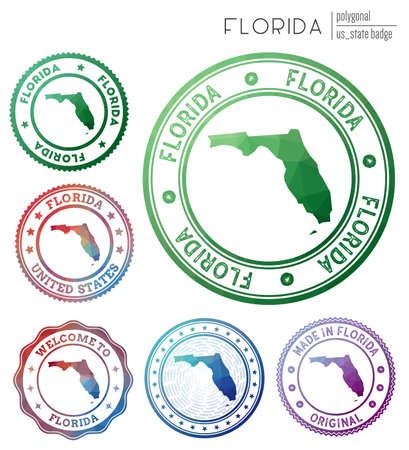 Florida badge. Colorful polygonal us state symbol. Multicolored geometric Florida  set. Vector illustration.
