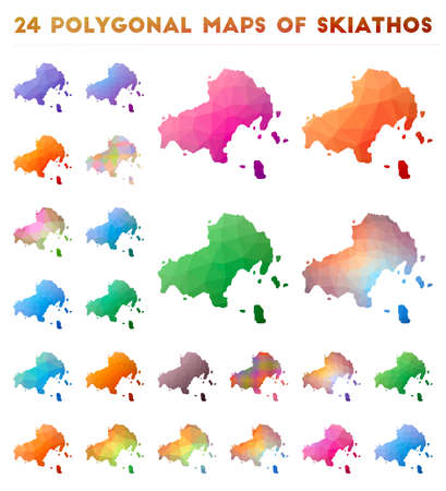 Set of vector polygonal maps of Skiathos. Bright gradient map of island in low poly style. Multicolored Skiathos map in geometric style for your infographics.