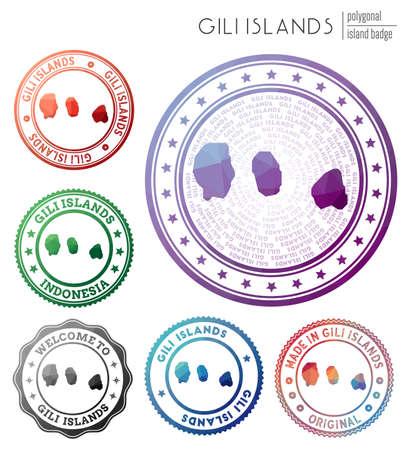 Gili Islands badge. Colorful polygonal island symbol. Multicolored geometric Gili Islands logos set. Vector illustration.