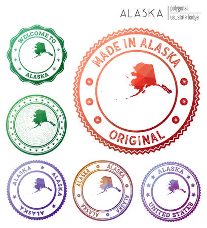 Alaska badge. Colorful polygonal us state symbol. Multicolored geometric Alaska  set. Vector illustration. Ilustrace