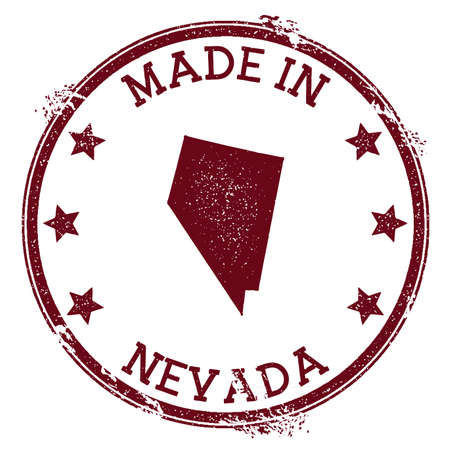 Made in Nevada stamp. Grunge rubber stamp with Made in Nevada text and us state map. Elegant vector illustration. Ilustrace