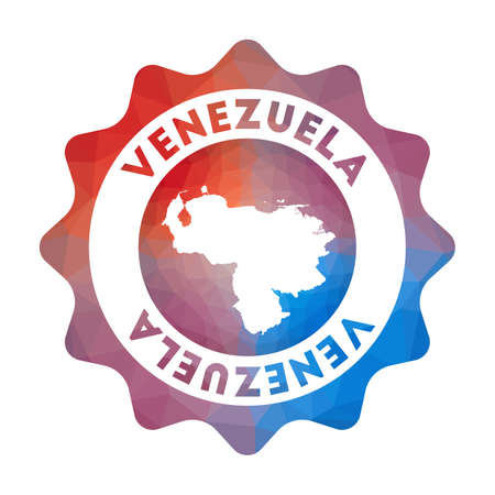Venezuela low poly  of the country in geometric style. Multicolored polygonal Venezuela rounded sign with map for your infographics.