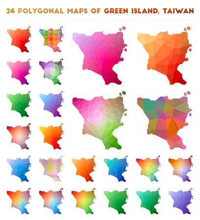 Set of vector polygonal maps of Green Island, Taiwan. Bright gradient map of island in low poly style. Multicolored Green Island, Taiwan map in geometric style for your infographics.