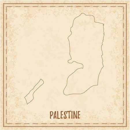 Pirate map of Palestine. Blank vector map of the Country. Vector illustration. Ilustrace