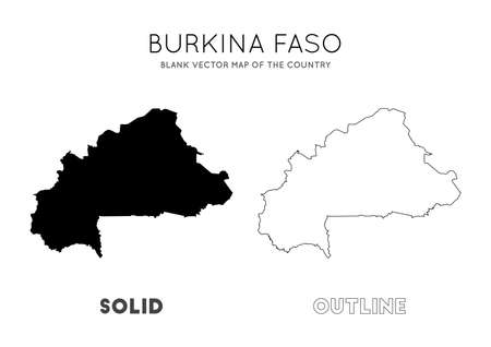 Burkina Faso map. Blank vector map of the Country. Borders of Burkina Faso for your infographic. Vector illustration.