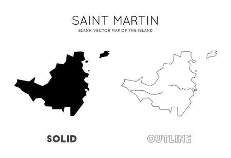 Karte von Saint-Martin. Leere Vektorkarte der Insel. Grenzen von Saint Martin für Ihre Infografik. Vektor-Illustration.