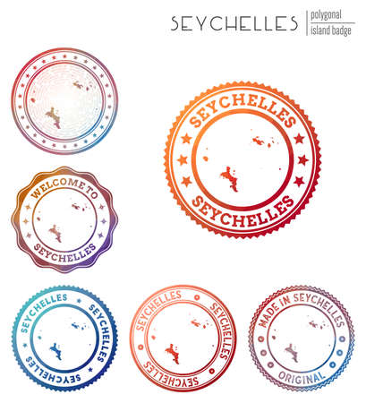 Seychelles badge. Colorful polygonal island symbol. Multicolored geometric Seychelles  set. Vector illustration. Ilustrace