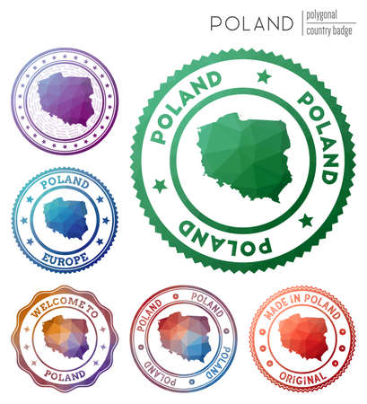 Poland badge. Colorful polygonal country symbol. Multicolored geometric Poland  set. Vector illustration. Ilustrace