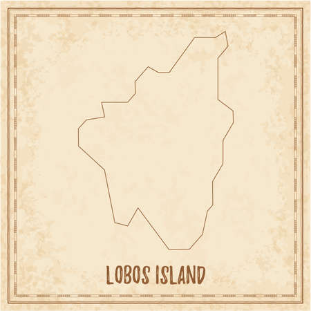 Pirate map of Lobos Island. Blank vector map of the Island. Vector illustration.