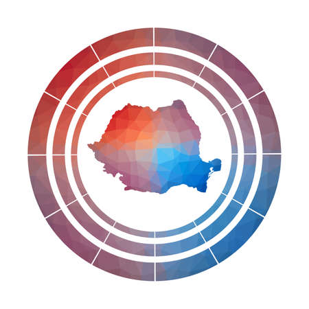 Romania badge. Bright gradient of country in low poly style. Multicolored Romania rounded sign with map in geometric style for your infographics.