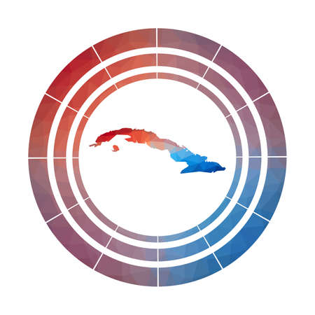Cuba badge. Bright gradient of country in low poly style. Multicolored Cuba rounded sign with map in geometric style for your infographics. Ilustrace