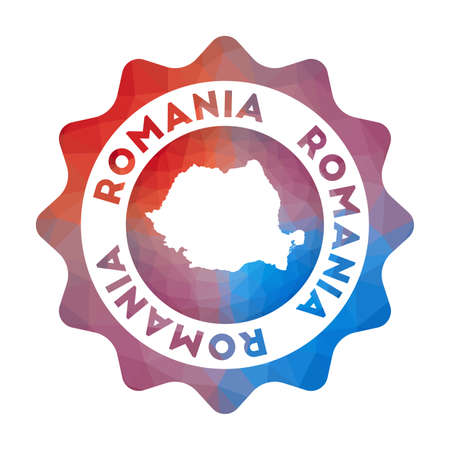 Romania low poly of the country in geometric style. Multicolored polygonal Romania rounded sign with map for your infographics.