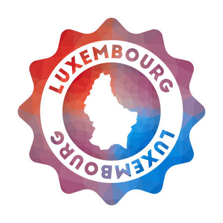 Luxembourg low poly  of the country in geometric style. Multicolored polygonal Luxembourg rounded sign with map for your infographics.
