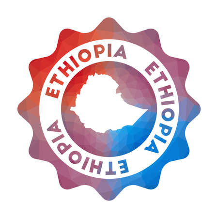 Ethiopia low poly  of the country in geometric style. Multicolored polygonal Ethiopia rounded sign with map for your infographics.